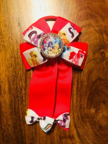 1 x 4 INCH MY LITTLE PONY CHEERLEADER BOW WITH RHINESTONE CENTRE WITH BOBBLE